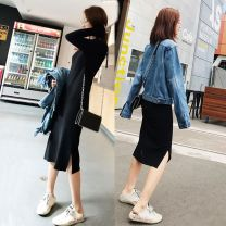 Dress Autumn of 2019 Black knitted dress with side split S,M,L,XL longuette singleton  Long sleeves commute Crew neck middle-waisted Solid color Socket One pace skirt routine Others 25-29 years old Type H Other Korean version Splicing More than 95% knitting polyester fiber