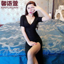 Dress Autumn 2020 S M L XL Mid length dress singleton  Long sleeves commute V-neck High waist Solid color Socket One pace skirt routine Others 18-24 years old Type X Xin Yuxuan Korean version More than 95% organza  polyester fiber Other polyester 95% 5% Pure e-commerce (online only)
