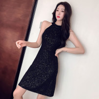 Dress Summer of 2019 black S M L XL Short skirt singleton  Sleeveless commute other High waist Solid color Socket One pace skirt routine Hanging neck style 25-29 years old Type H Xin Yuxuan Korean version strapless  More than 95% Silk and satin polyester fiber Other polyester 95% 5%
