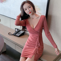 Dress Winter 2020 Black Pink qqxgnz715 long sleeve qqxgnz728 short sleeve S M L XL Short skirt singleton  Long sleeves commute V-neck High waist Solid color Socket One pace skirt routine Others 25-29 years old Xin Yuxuan Korean version fold XYFS5796# More than 95% brocade polyester fiber