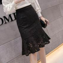 skirt Spring 2021 S [suggest 98 Jin], m [suggest 98-108 Jin], l [suggest 108-118 Jin], XL [recommend 118-128 Jin], XXL [recommend 128-138 Jin], XXXL [recommend 138-148 Jin] N74-t-black, g58 ivory, white sling Middle-skirt sexy High waist skirt Solid color Type A A23651 other Other / other other Lace