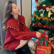 Women's large Winter 2020, autumn 2020, spring 2021 gules S = 1, M = 2, large L = 3, large XL = 4 Other oversize styles singleton  commute Long sleeves Solid color Korean version routine 81% (inclusive) - 90% (inclusive) Middle-skirt
