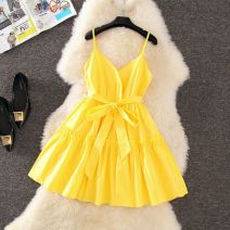 Dress Summer 2020 White, yellow, red, black S,M,L,XL Short skirt singleton  Sleeveless Sweet V-neck High waist Solid color A-line skirt camisole Type A bow princess