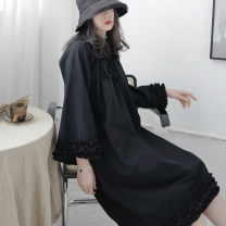 Dress Spring 2021 White, black S,M,L,XL Middle-skirt singleton  three quarter sleeve street Crew neck Loose waist Solid color Socket A-line skirt routine Others 18-24 years old Type A Other / other Lotus leaf edge C1869 More than 95% other cotton Punk