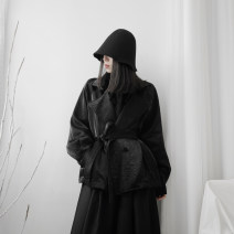 short coat Autumn of 2019 Average size black Long sleeves have cash less than that is registered in the accounts routine singleton  Straight cylinder Original design routine other Solid color 18-24 years old Other / other polyester fiber