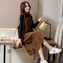 Dress Winter 2020 Coffee black M L XL 2XL 3XL longuette singleton  Sleeveless commute square neck Solid color Socket A-line skirt straps 25-29 years old Type H Showgrid sg61234 More than 95% other Other 100% Pure e-commerce (online only)