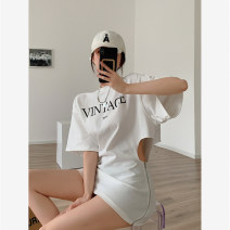 Dress Summer 2021 White black S M L Short skirt singleton  Short sleeve commute Crew neck High waist letter Socket other routine Others 25-29 years old Showgrid Korean version Zipper printing DY-DXH-5L-521-D-3168 More than 95% other other Other 100% Pure e-commerce (online only)
