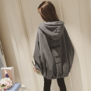 Sweater / sweater Winter of 2019 Apricot grey black M L XL XXL Long sleeves routine Cardigan singleton  Plush Hood easy commute routine letter 18-24 years old 96% and above Warm clothes Korean version polyester fiber Pocket printed zipper polyester fiber Cotton liner Polyester 100%