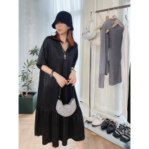 Dress Summer 2021 Mid length dress singleton  elbow sleeve street V-neck Loose waist Solid color Condom LIVAS VILLAGE 21E1103 More than 95% silk Europe and America XS (for xs-s code), m (for M-L code) black