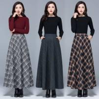 skirt Autumn 2020 longuette High waist A-line skirt Solid color