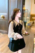 Dress Spring 2021 Black Patchwork dress S,M,L,XL Middle-skirt singleton  Long sleeves commute Polo collar High waist Solid color Socket A-line skirt routine Others 18-24 years old Vinata Korean version Button More than 95% other polyester fiber