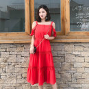 Dress Summer of 2019 gules S M L Mid length dress singleton  commute One word collar Elastic waist Socket Cake skirt Lotus leaf sleeve camisole 25-29 years old Korean version Ruffle button More than 95% polyester fiber Polyester 100%
