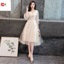 Dress / evening wear coming-of-age ceremony S. M, l, XL, 2XL, 3XL, 4XL, 5XL, customized, no return, no change Champagne, silver longuette Skirt hem Deep collar V Netting Short sleeve Other / other