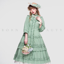 Dress Spring 2021 S. M, l, XL, one size fits all longuette three quarter sleeve Sweet stand collar Solid color puff sleeve Type A Upri Bows, ruffles, ruffles, laces, straps, buttons Elliwick cotton