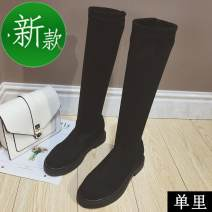 Boots 35,36,37,38,39 Single inner short cylinder black, single inner medium cylinder black, single inner high cylinder black, cotton short cylinder black, cotton medium cylinder black, cotton high cylinder black Suede Other / other Low heel (1-3cm) Flat bottom Suede Over the knee Round head cloth