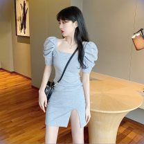 Dress Summer 2020 O12-q-gray, q73-s-black Average size Short skirt singleton  Short sleeve commute square neck High waist other other puff sleeve Others 18-24 years old Type H Other / other 81% (inclusive) - 90% (inclusive) other cotton