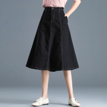 skirt Spring 2021 S M L XL 2XL 3XL Black dark blue Mid length dress commute High waist A-line skirt Solid color Type A 25-29 years old 71% (inclusive) - 80% (inclusive) Denim Jarman (clothing) cotton Pocket button, zipper and thread decoration Simplicity Pure e-commerce (online only)