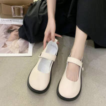 Low top shoes 35,36,37,38,39,40 Other / other Matte black, shiny black, matte rice, shiny rice Round head PU Thick heel Flat heel (1cm or less) Shallow mouth PU Spring 2021 Velcro commute Adhesive shoes Solid color rubber Mary Jane shoes Shallow mouth PU daily 0901L220627775779
