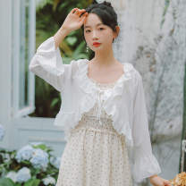 Lace / Chiffon Summer of 2019 White, apricot S,M,L Long sleeves commute Cardigan singleton  Self cultivation have cash less than that is registered in the accounts Solid color pagoda sleeve 18-24 years old Other / other N3923 Lotus leaf edge Korean version