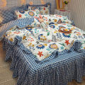 Bedding Set / four piece set / multi piece set cotton Quilting Solid color other Other / other cotton 4 pieces other Bed sheet, bed skirt Qualified products 95% (inclusive) - 100% (exclusive) cotton other Reactive Print