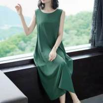 Dress Spring 2021 Black, red, green, purple XL (90 ~ 110 kg), 2XL (111 ~ 120 kg), 3XL (121 ~ 135 kg), 4XL (136 ~ 150 kg), 5XL (151 ~ 165 kg) longuette singleton  Sleeveless commute Crew neck High waist Solid color Socket A-line skirt routine Others Type A Other / other Korean version other other