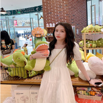 Dress Summer 2021 S,M,L Mid length dress singleton  Short sleeve commute square neck High waist Solid color Socket A-line skirt puff sleeve Others 18-24 years old Type X Travel together Bandage