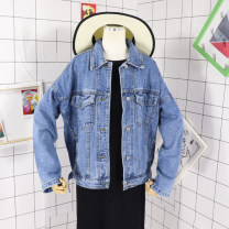 short coat Summer of 2019 S,M,L Denim blue Long sleeves routine routine singleton  easy commute routine Polo collar Single breasted Solid color 18-24 years old Other / other