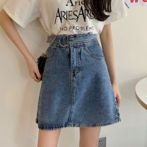 skirt Spring 2021 S,M,L,XL Light blue, dark blue Short skirt commute High waist A-line skirt Solid color Type A 18-24 years old W0226 30% and below other Other / other Korean version