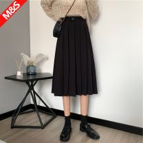 skirt Autumn 2020 S 90-110kg, m 110kg-130kg Black, brown Mid length dress commute High waist A-line skirt Solid color Type A 18-24 years old 30% and below other other Korean version
