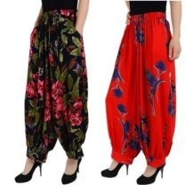 Casual pants trousers Knickerbockers High waist printing and dyeing