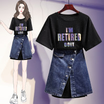 Women's large Summer 2021 9307 black single T-shirt, 9307 white single T-shirt, 6033 denim skirt L [recommendation 90-110], XL [recommendation 110-125], 2XL [recommendation 125-150], 3XL [recommendation 150-170], 4XL [recommendation 170-190] Two piece set commute moderate Socket Short sleeve letter