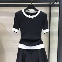 T-shirt White, black 2 / s, 3 / m, 4 / L, 5 / XL Summer 2020 Short sleeve Crew neck Self cultivation Regular routine commute Viscose 51% (inclusive) - 70% (inclusive) 25-29 years old Simplicity youth Color matching Pinge Dixin Stitching, three-dimensional decoration, bowknot