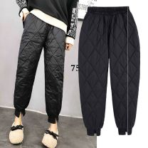 Women's large Winter 2020, autumn 2020 Black, white trousers singleton  commute thickening Solid color Korean version Cotton, others Three dimensional cutting Other 25-29 years old pocket trousers