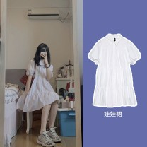 Dress Summer 2020 white XS S M L Short skirt Short sleeve Polo collar High waist Solid color Single breasted A-line skirt routine Others 18-24 years old Bei Ziting More than 95% other Other 100.00%