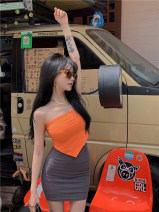 undergarment covering the chest and abdomen Summer 2021 Average size Black, orange singleton  have cash less than that is registered in the accounts commute Self cultivation 18-24 years old Solid color Other / other 99567# Asymmetry Korean version