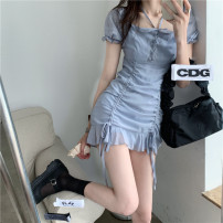 Dress Spring 2021 Dress S, M Short skirt singleton  Short sleeve commute square neck High waist Solid color Socket Ruffle Skirt puff sleeve Hanging neck style 18-24 years old Other / other Korean version Fold, ruffle, ruffle