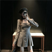 Dress Spring 2021 Gray, black S,M,L Short skirt singleton  Long sleeves commute square neck High waist Solid color Socket Pleated skirt routine Others 18-24 years old Other / other Korean version fold