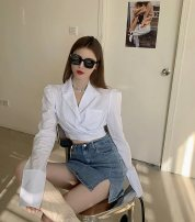 shirt white S, M Spring 2021 other 71% (inclusive) - 80% (inclusive) Long sleeves commute Short style (40cm < length ≤ 50cm) tailored collar Socket routine Solid color 18-24 years old Self cultivation Korean version Folds, pockets