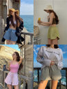 Casual pants Gray, green, blue, black, pink Average size Spring 2021 shorts Wide leg pants High waist commute routine 18-24 years old Other / other Korean version Bandage cotton