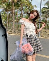 shirt White top, plaid skirt S, M Summer 2021 other 51% (inclusive) - 70% (inclusive) Short sleeve commute Short style (40cm < length ≤ 50cm) One word collar Socket puff sleeve Solid color 18-24 years old Straight cylinder Other / other Korean version Bowknot, stitching, Auricularia auricula