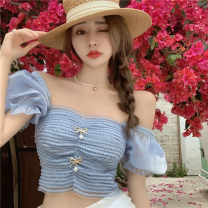 shirt blue Average size Summer 2021 other 71% (inclusive) - 80% (inclusive) Short sleeve commute Short style (40cm < length ≤ 50cm) square neck Socket puff sleeve Solid color 18-24 years old Self cultivation Other / other Korean version Bowknot, gauze, stitching, fold, open back