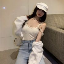 Vest sling Summer 2021 Apricot, grey Average size singleton  routine Self cultivation commute camisole Solid color 18-24 years old cotton 7534# Other / other Lace, stitching