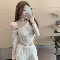 Lace / Chiffon Spring 2021 White, black Average size Long sleeves commute Socket singleton  Self cultivation have cash less than that is registered in the accounts Slant collar Solid color routine 18-24 years old Other / other Korean version 91% (inclusive) - 95% (inclusive)