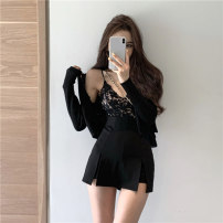 skirt Spring 2021 S. M, l, average size Black cardigan, purple cardigan, black suspender, white suspender, skirt Short skirt commute High waist other Solid color 18-24 years old Other / other Korean version