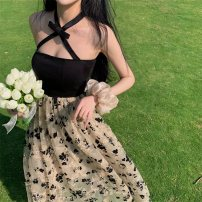 Dress Spring 2021 Picture color S, M Mid length dress singleton  Sleeveless commute One word collar High waist Decor Socket other other Hanging neck style 18-24 years old Other / other Korean version Gauze, stitching, embroidery, open back 81% (inclusive) - 90% (inclusive) polyester fiber