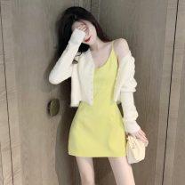 Dress Summer 2021 White suspender skirt, yellow suspender skirt S, M Short skirt singleton  Sleeveless commute V-neck High waist Solid color Socket other other camisole 18-24 years old Other / other Korean version backless 10889-1