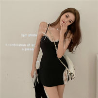 Dress Summer 2021 Suspender skirt, cardigan Average size Short skirt singleton  Sleeveless commute One word collar High waist Solid color Socket other other camisole 18-24 years old Type A Other / other Korean version Bowknot, stitching, asymmetry, lace 30% and below other other