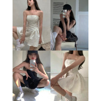 Dress Summer 2021 White, black S, M Short skirt singleton  Sleeveless commute One word collar High waist Solid color Socket other other Breast wrapping 18-24 years old Other / other Korean version backless