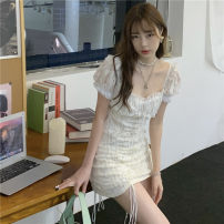 Dress Summer 2021 white S, M Short skirt singleton  Short sleeve commute V-neck High waist Solid color Socket other puff sleeve Others 18-24 years old Other / other Korean version Lace, stitching, lacing, pleating 31% (inclusive) - 50% (inclusive) Lace polyester fiber