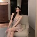 Dress Summer 2021 Grey, pink Average size Short skirt singleton  Sleeveless commute V-neck High waist Solid color Socket Ruffle Skirt other camisole 18-24 years old Type H Korean version Sequins 6077#